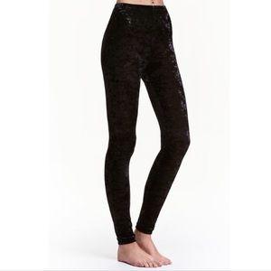 H&M Divided Black Crushed Velvet Leggings Sz XS